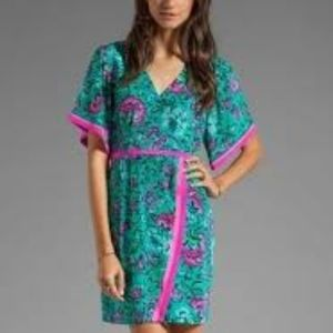 NANETTE LEPORE SILK AQUA & PINK KIMONO DRESS